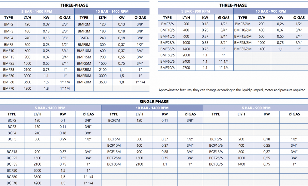GVR BFC - BMF Gear Pump Flow Rate Chart
